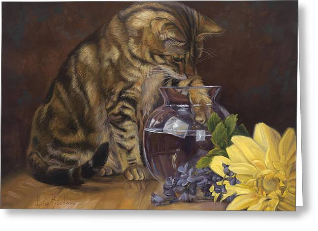 Indoors Greeting Cards - Paw in the Vase Greeting Card by Lucie Bilodeau