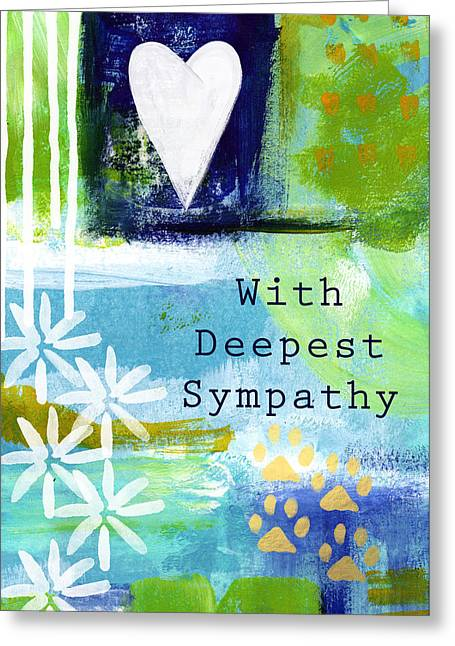 Sympathies Greeting Cards - Paw Prints and Heart Sympathy Card Greeting Card by Linda Woods