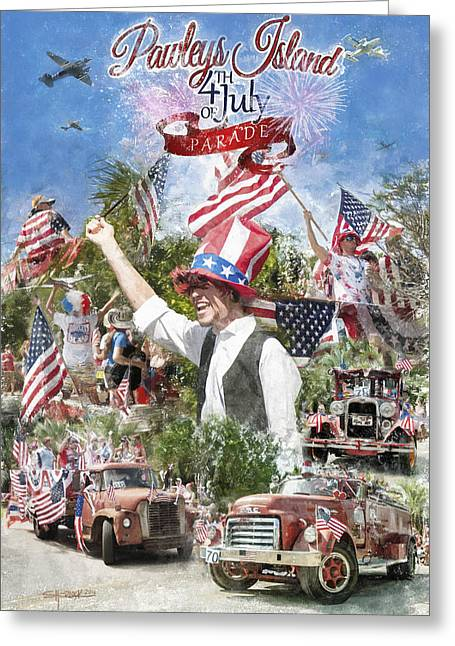 Party Hat Posters Greeting Cards - Pawleys Island 4th of July Greeting Card by Alan Sherlock