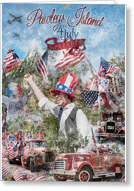 Party Hat Posters Greeting Cards - Pawleys Island 4th of July Parade Greeting Card by Alan Sherlock