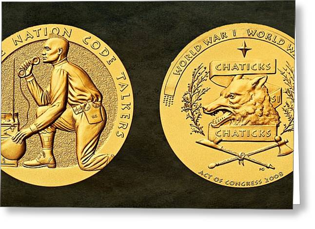 Wwi Greeting Cards - Pawnee Nation Tribe Code Talkers Bronze Medal Art Greeting Card by Movie Poster Prints