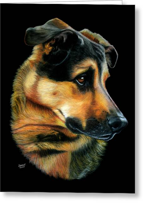 Guard Dog Pastels Greeting Cards - Paws for Thought Greeting Card by Rebelwolf