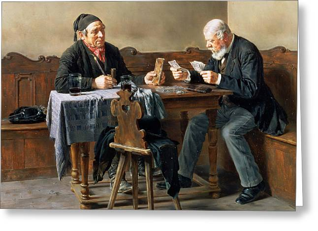 Employer Greeting Cards - Pay Day, 1887 Oil On Panel Greeting Card by Anton Muller