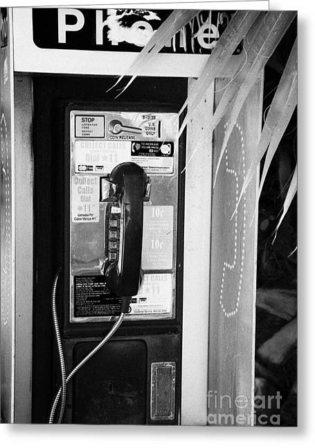 Handset Greeting Cards - Pay Phone Miami South Beach Florida Usa Greeting Card by Joe Fox