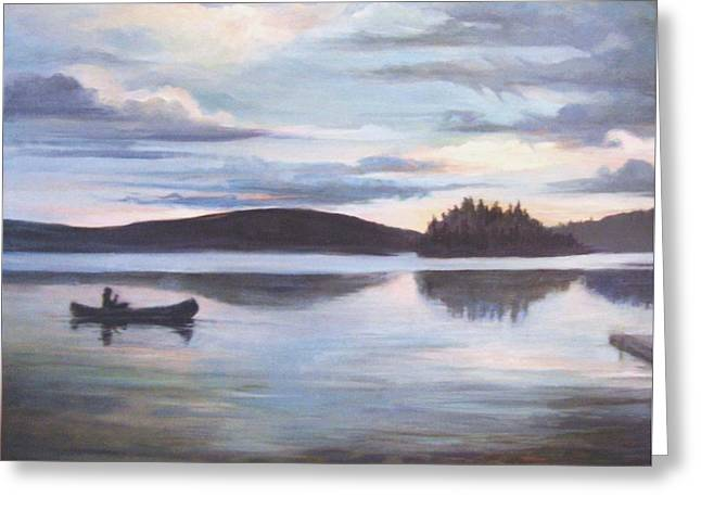 Canoe Paintings Greeting Cards - Payette Lake Idaho Greeting Card by Donna Tucker