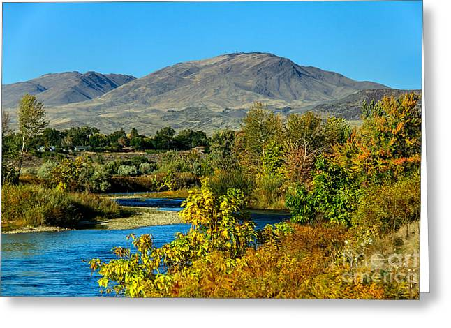 Scenic River Photography Greeting Cards - Payette River And Squaw Butte Greeting Card by Robert Bales