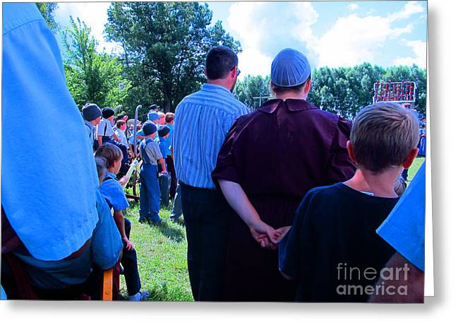 Mennonite Community Greeting Cards - Paying Attention Greeting Card by Tina M Wenger