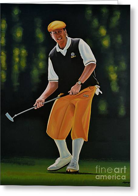 Golf Hole Greeting Cards - Payne Stewart Greeting Card by Paul  Meijering