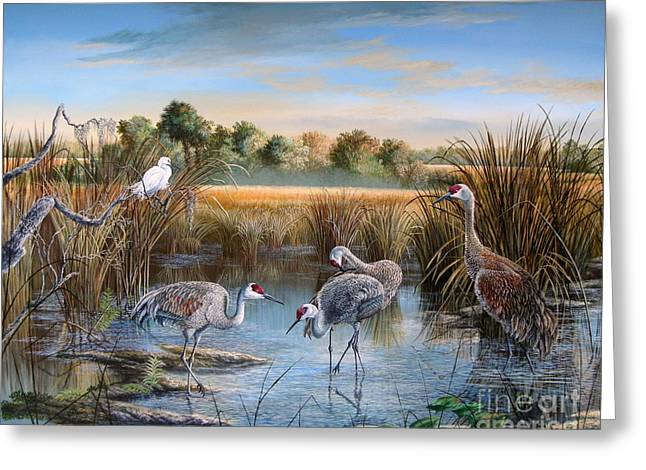 Sand Art Greeting Cards - Paynes Prairie Preserve State Park- Day of the Sand-Hill Greeting Card by Daniel Butler