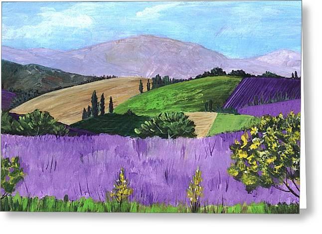 Purple Mountains Drawing Greeting Cards - Pays de Sault Greeting Card by Anastasiya Malakhova