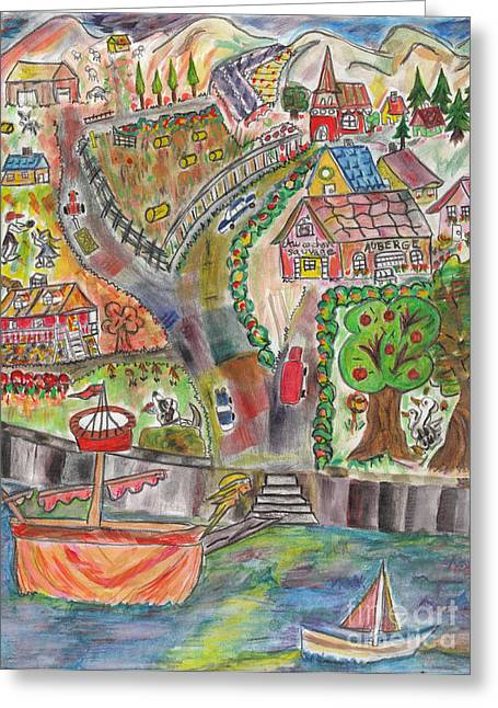 Bucolic Scenes Paintings Greeting Cards - Paysage bucolique / Pastoral Landscape Greeting Card by Dominique Fortier