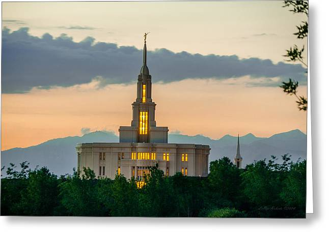 Mormon Temple Photography Greeting Cards - Payson LDS Temple Pastel Greeting Card by La Rae  Roberts
