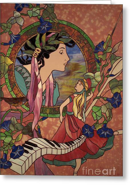 Art Nouveau Glass Art Greeting Cards - Pbs Greeting Card by John Emery