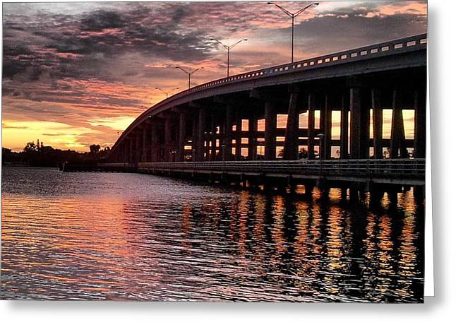 Saltlife Greeting Cards - PC Bridge Sunset Greeting Card by Lisa Kilbreth