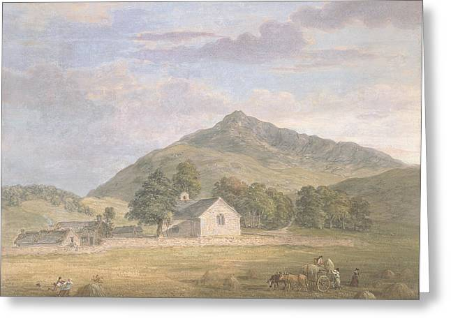 Harvest Drawings Greeting Cards - Pd.2-1967 Haymaking At Dolwyddelan Greeting Card by Paul Sandby