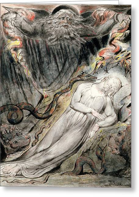 Dreams Drawings Greeting Cards - Pd.20-1950 Christs Troubled Sleep Greeting Card by William Blake