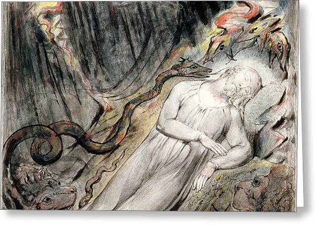Pd.20-1950 Christs Troubled Sleep Greeting Card by William Blake