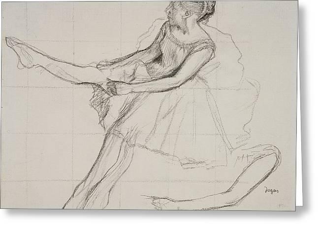 Ballerinas Drawings Greeting Cards - Pd.23-1978 Dancer Adjusting Her Tights Greeting Card by Edgar Degas