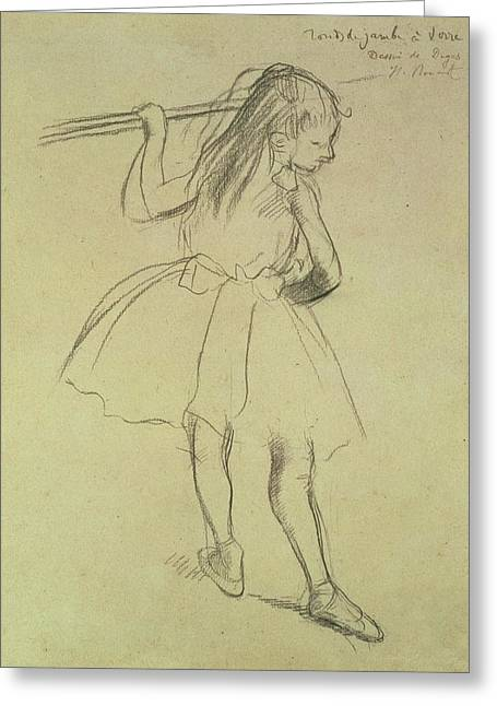 Impressionist Drawings Greeting Cards - Pd.32-1978 Girl Dancer At The Barre Greeting Card by Edgar Degas