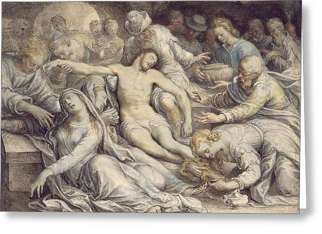 Virgin Mary Greeting Cards - Pd.5-1957 The Lamentation Over The Dead Greeting Card by Isaac Oliver