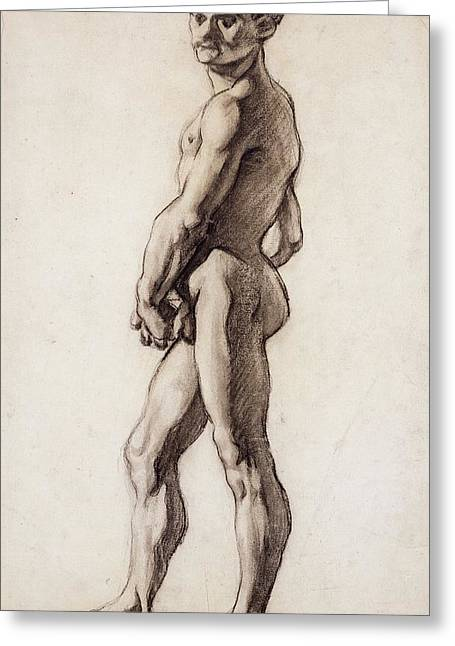 Nude Drawings Drawings Greeting Cards - Male Nude Greeting Card by Paul Cezanne