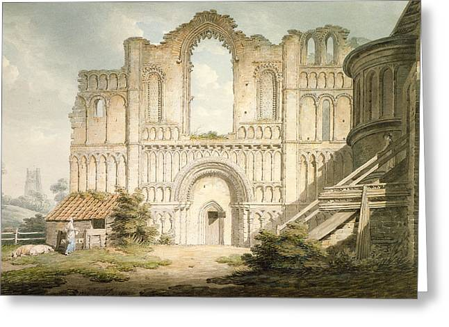 11th Century Greeting Cards - Pd.56-1958 West Front Of Castle Acre Greeting Card by Edward Dayes