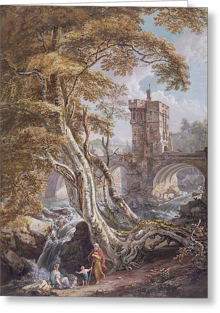 View Of The Old Welsh Bridge Greeting Card by Paul Sandby