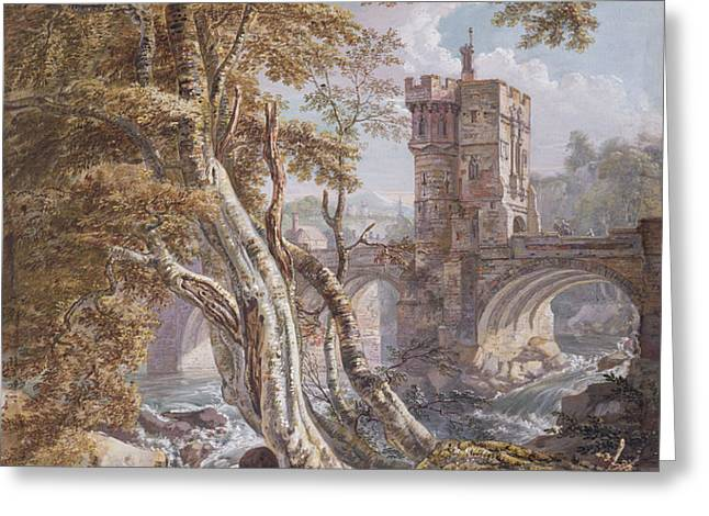 Pd.8-1976 View Of The Old Welsh Bridge Greeting Card by Paul Sandby