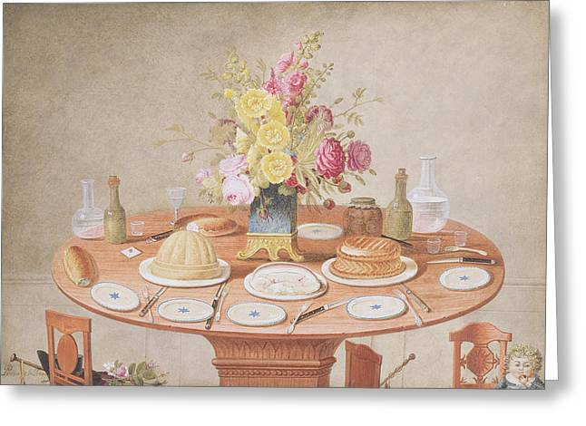 Dining Room Drawings Greeting Cards - Pd.869-1973 Still Life With A Vase Greeting Card by Jean-Louis Prevost