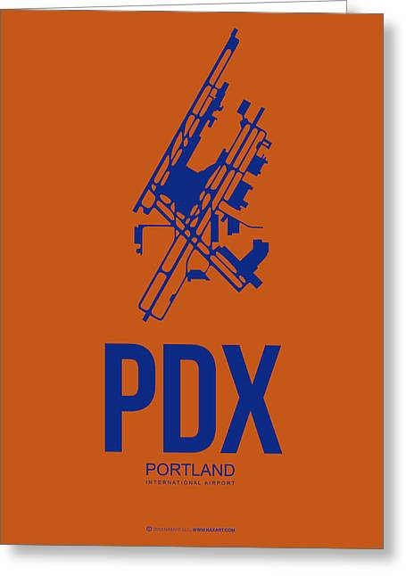 Portland Greeting Cards - PDX Portland Airport Poster 1 Greeting Card by Naxart Studio