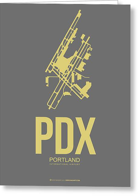 Town Mixed Media Greeting Cards - PDX Portland Airport Poster 2 Greeting Card by Naxart Studio