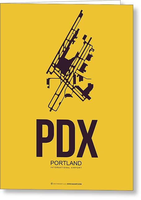 Portland Greeting Cards - PDX Portland Airport Poster 3 Greeting Card by Naxart Studio