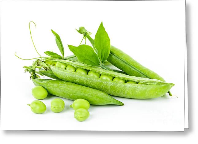 Health Food Greeting Cards - Pea pods and green peas Greeting Card by Elena Elisseeva