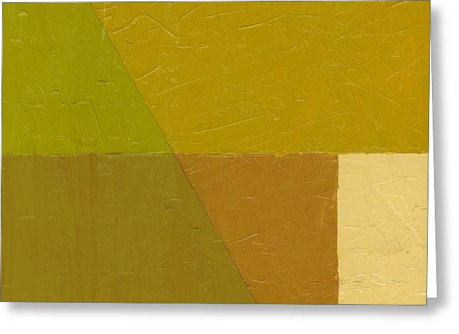 Geometric Image Greeting Cards - Pea Soup and Cream Greeting Card by Michelle Calkins