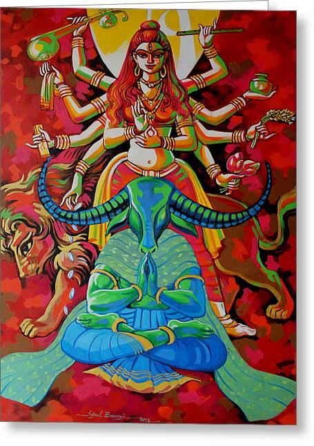 Goddess Durga Greeting Cards - Peace Greeting Card by Abhijit Banerjee