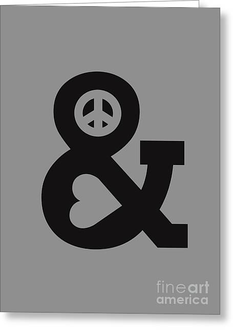 Peace Sign Greeting Cards - Peace and Love Greeting Card by Budi Satria Kwan
