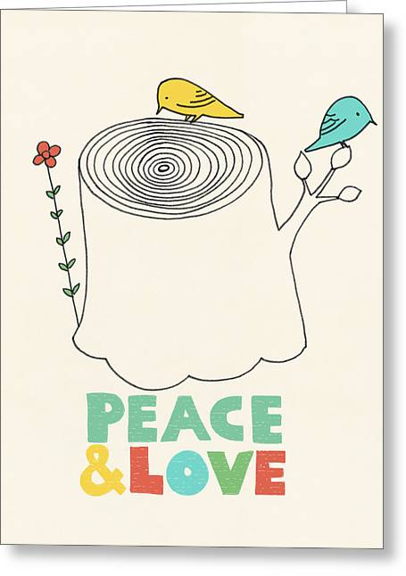 Peace Drawings Greeting Cards - Peace and Love Greeting Card by Eric Fan