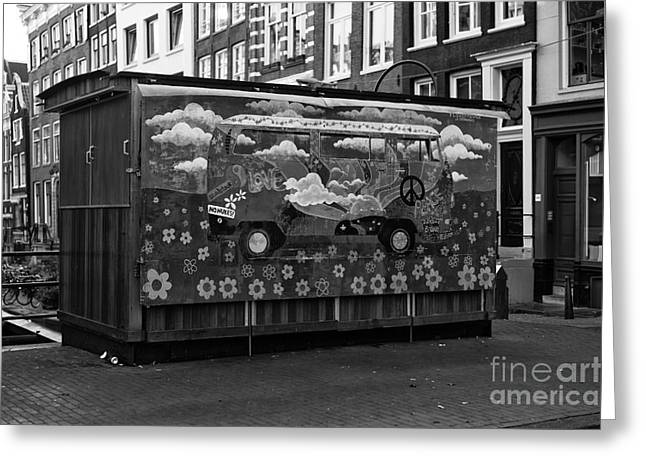 """""""peace And Love"""" Greeting Cards - Peace and Love in Amsterdam mono Greeting Card by John Rizzuto"""