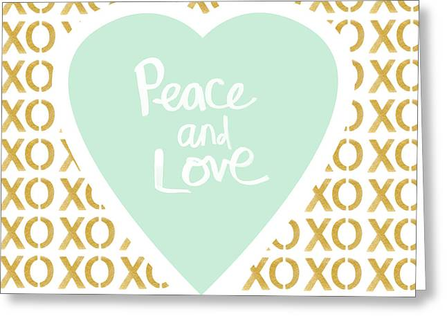 Marriage Mixed Media Greeting Cards - Peace and Love in Aqua and Gold Greeting Card by Linda Woods