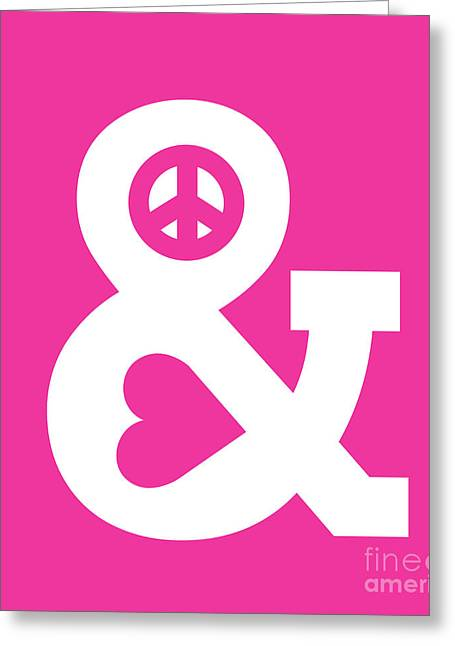 Cute Digital Art Greeting Cards - Peace and Love pink edition Greeting Card by Budi Kwan