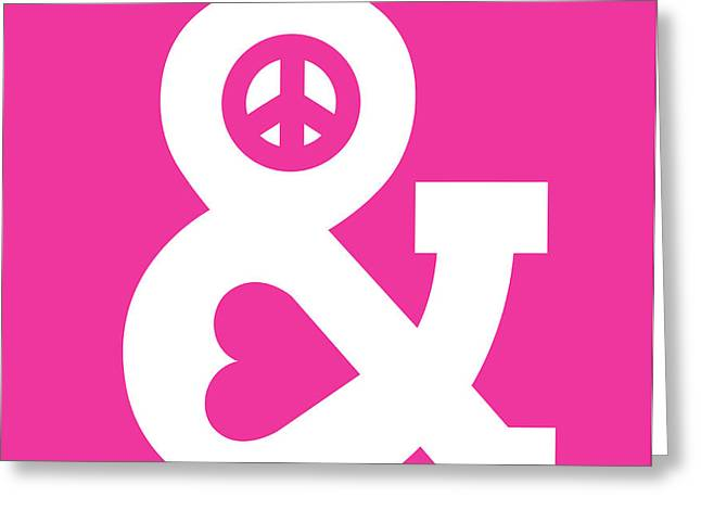 Peace and Love pink edition Greeting Card by Budi Satria Kwan