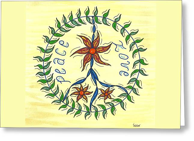 Peace And Love Greeting Card by Susie WEBER