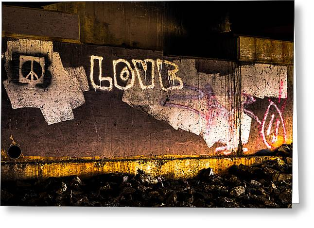 Peace and Love Under The Bridge Greeting Card by Bob Orsillo