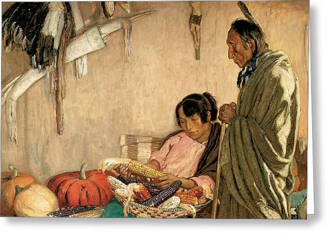 Indian Warrior Art Photographs Greeting Cards - Peace and Plenty Greeting Card by Oscar E Berninghaus