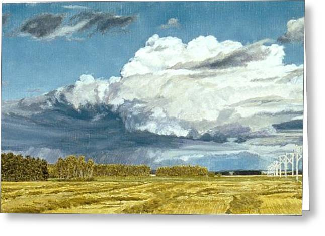 Storm. Rain. Oil On Canvas Greeting Cards - Peace And Power Greeting Card by Gordon J Weber
