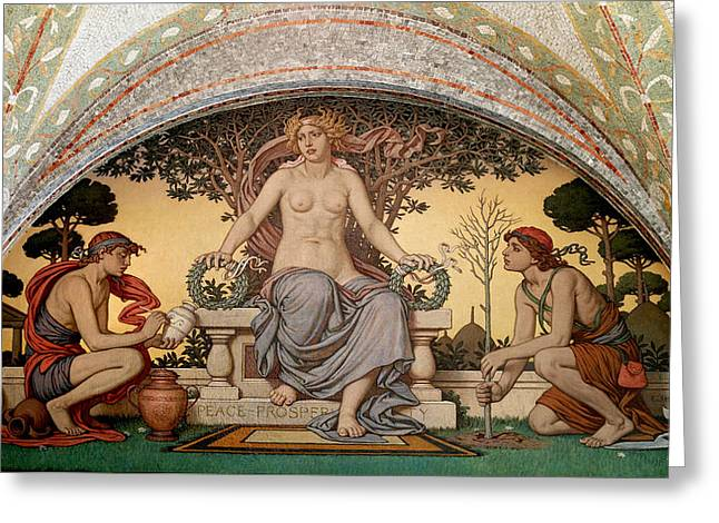 Vedder Greeting Cards - Peace and Prosperity Greeting Card by Elihu Vedder