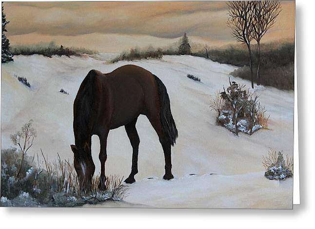 Grazing Snow Paintings Greeting Cards - Peace and Quiet Greeting Card by John Stuart Webbstock