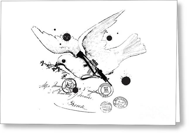 White Digital Art Greeting Cards - Peace and war Greeting Card by Budi Satria Kwan