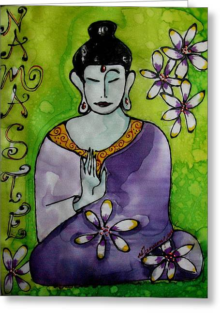 Spirituality Tapestries - Textiles Greeting Cards - Peace And Wisdom Greeting Card by Yvonne Feavearyear