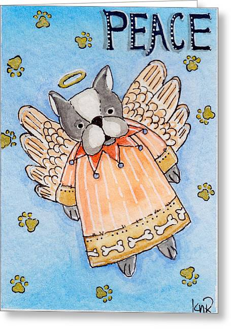 Artisan Made Greeting Cards - Peace - Angel Puppy Greeting Card by K Nicole Rogalski